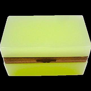 Antique Murano Yellow Opaline Glass Rectangular Casket Box