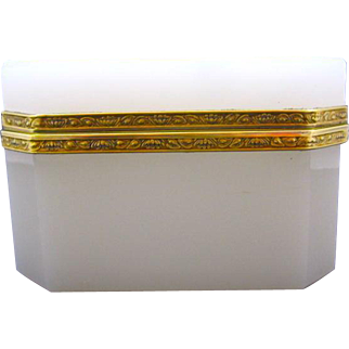 Antique French White Opaline Rectangular Glass Casket Box with Beautiful Dore Bronze Mounts.
