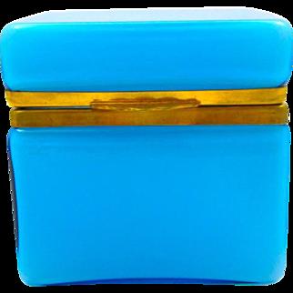 Antique Italian Murano Blue Opaline Overlay Glass Casket Box