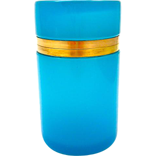 Antique French Blue Opaline Glass Cylindrical Hinged Box.