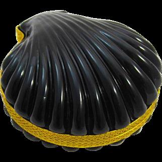 Antique French Rare Black Opaline Shell Shape Hinged Box
