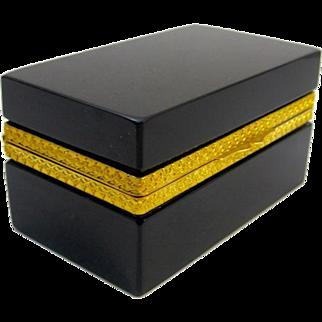 Antique Italian Murano Black Opaline Glass Rectangular Casket Box