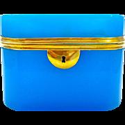 Large Antique French 19th Century Blue Opaline Glass Casket
