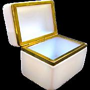 Antique French 19th Century White 'Bulle de Savon' Opaline Casket Box.