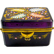 Antique Moser Amethyst Enamelled Glass Double Handle Casket Box.