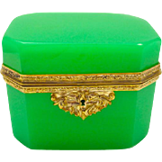 High Quality French Green Opaline Rectangular Glass Casket Box with Beautiful Dore Bronze Mounts.