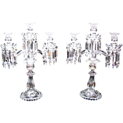 A Tall High Quality Pair of Antique BACCARAT Three Branch Candelabra