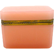 Antique Pink Opaline Glass Rectangular Casket Box with Ornate Dore Bronze Mounts and Lift Clasp.