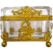 French Napoleon III Dore Bronze Jewellery Casket Box with Fine Classical Figures, and 4 Ball Feet.