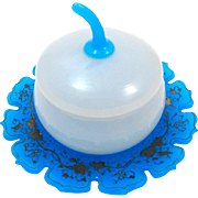Antique French 19th Century Blue and White Opaline 'Apple' Box.