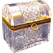 "Antique Baccarat Cut Crystal Glass ""Chest"" Casket Box with Dore Bronze Mounts and Wreath and Bow Lift Clasp."