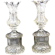 A Pair of Antique Tall Highly Cut Bohemian Crystal Campana Shaped Vases.
