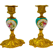 Pair of Antique Sevres Style  Porcelain and Dore Bronze Candlesticks