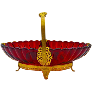 Antique French Ruby Red Basket with Undulating Rim and Fine Dore Bronze Mounts.