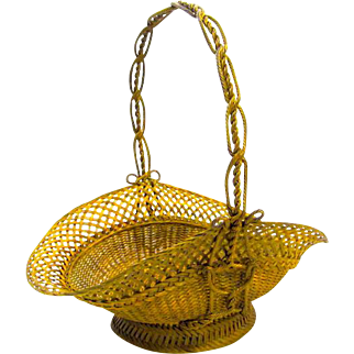 Large Antique French Bronze Woven Basket with Handle.