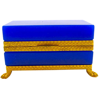 Antique Lapis Blue Italian Murano Casket Box with Dore Bronze Mounts and 4 Classical Lions Feet