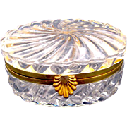 Antique French Signed BACCARAT Oval-Shaped Cut Crystal Jewellery Casket Box.