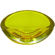 Vintage Italian Murano Sommerso Yellow Glass Ashtray