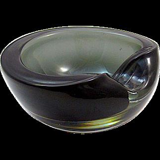 Vintage Italian Geode Sommerso, Murano Glass Ashtray.