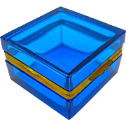 Antique Murano Aquamarine Blue Glass Square Casket Box with Smooth Mounts and Lift Clasp.