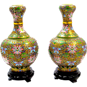 A Pair of Pretty Chinese Cloisonné Vases and Stands.