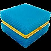Antique Murano Blue Diamond Cut Opaline Glass Square Casket Box