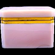 An Unusual Antique Creamy Pink Opaline Glass Rectangular Casket Box
