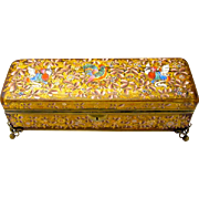 Unusual Large Antique MOSER 19th Century Glass Casket Enamelled with Colourful Flowers, Rooster and Dragons.