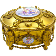 Exceptional Antique French Fine Gilded Dore Bronze and Porcelain Palais Royal Casket with Original Ornate Key.