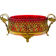 A LARGE Antique French Oval Gilded Bronze and Cranberry Glass Jardiniere