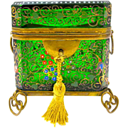 Antique 19th Century MOSER Bohemian Emerald Green Casket Box Enamelled with Colourful Flowers Throughout.