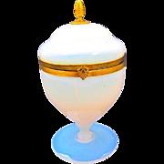 Antique 'Boule de Savon' Opaline Glass casket Box