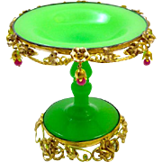 Antique French Palais Royal Green Opaline Glass Bowl Tazza Bowl with Very Pink Opaline Baubles.