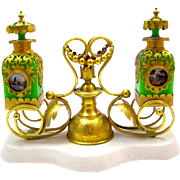 A Very Large Beautiful Palais Royal Perfume Set Comprising of 2 Green Opaline Glass Perfume Bottles, Stand and Marble Base