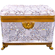 LARGE Baccarat Rectangular Cut Crystal Casket and Key.