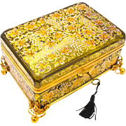 Very Large Antique Moser Casket Box Enamelled with Beautiful Enamelling Throughout.