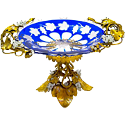 Antique French Palais Royal Blue and Clear Overlay Glass Bowl Tazza