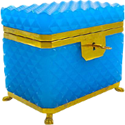 Antique Blue Opaline 'Diamond Cut ' Rectangular Casket Box with Smooth Dore Bronze Mounts.