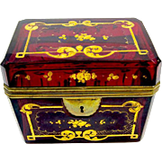Antique Bohemian Deep Ruby Red Casket Box Decorated with Ornate Gold Enamelled Floral Motifs