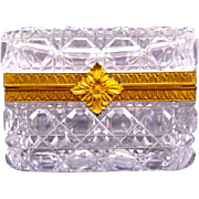 Antique French Baccarat Rectangular Cut Crystal Casket with Dore Bronze Large Leaf Clasp