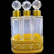 Napoleon III Triple Crystal and Dore Bronze Perfume Set
