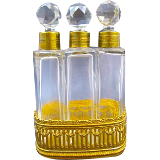 Napoleon III Triple Crystal and Dore Bronze Perfume Set