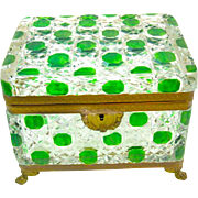 Spectacular Large Antique Baccarat Green Cut to Clear Hobnail Cut Crystal Casket .