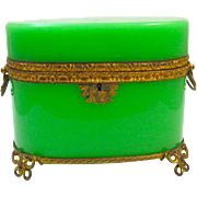 Large High Quality French Green Opaline Glass Oval Glass Casket Box