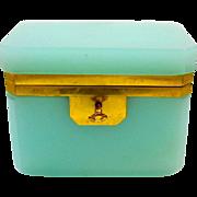 Unusual Vintage Aqua Italian Murano Casket Box with Smooth Dore Bronze Mounts and Key.