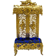 Antique French Dore Bronze and Crystal Watch and Ring Holder.