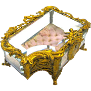 Large Unusual French Napoleon III Dore Bronze 'Cherub' Jewellery Casket Box