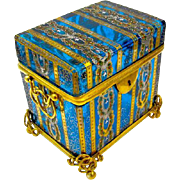 Antique 19th Century MOSER Bohemian Turquoise Casket Box