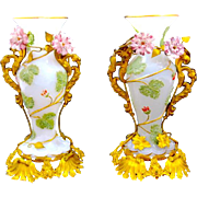 Exceptional Antique BACCARAT Opaline Glass Vases with Porcelain Flowers and Fine Dore Bronze Mounts