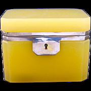 Rare Vintage Italian Murano 'Custard' Glass Casket Box with Smooth Silver Mounts.